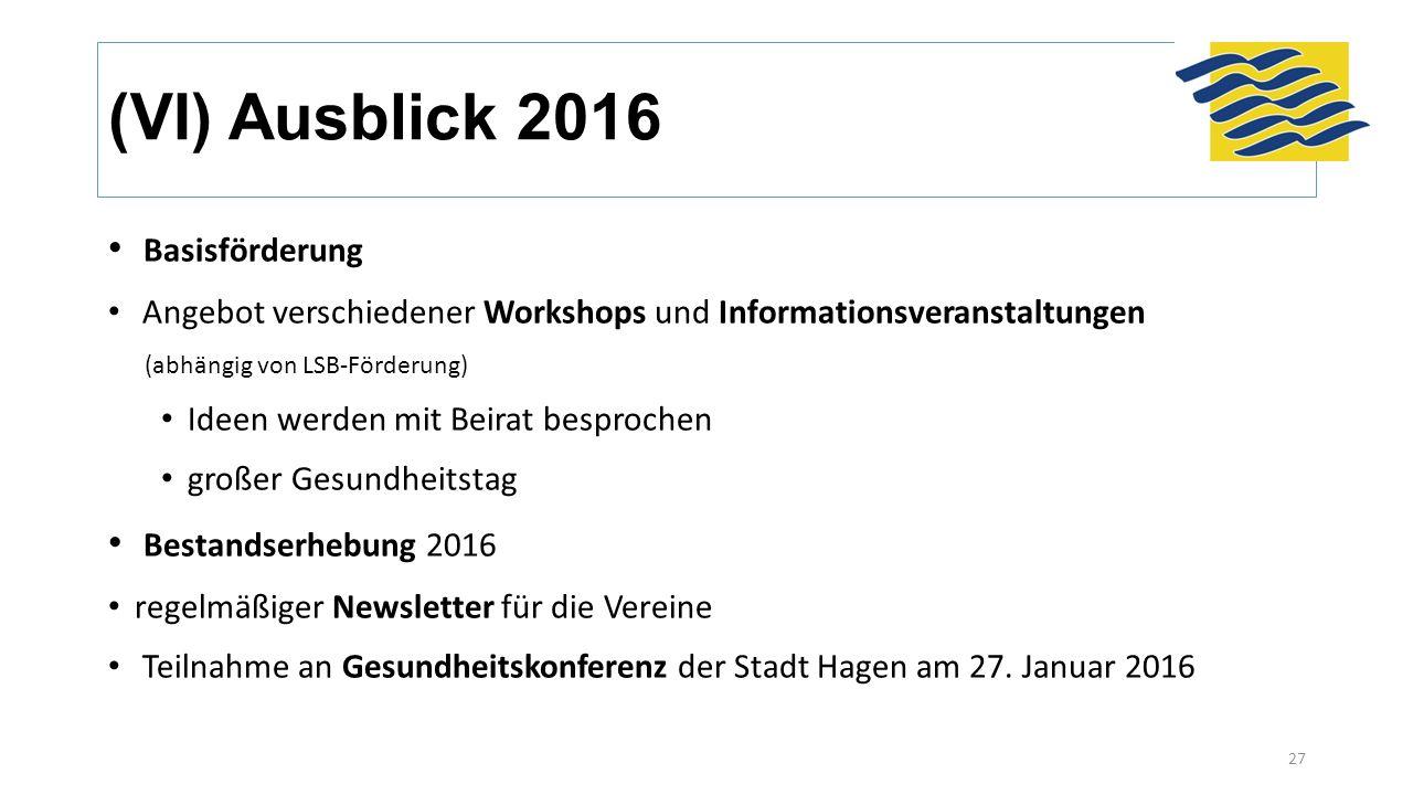 (VI) Ausblick 2016 Basisförderung Angebot verschiedener Workshops und Informationsveranstaltungen (abhängig von LSB-Förderung) Ideen werden mit Beirat