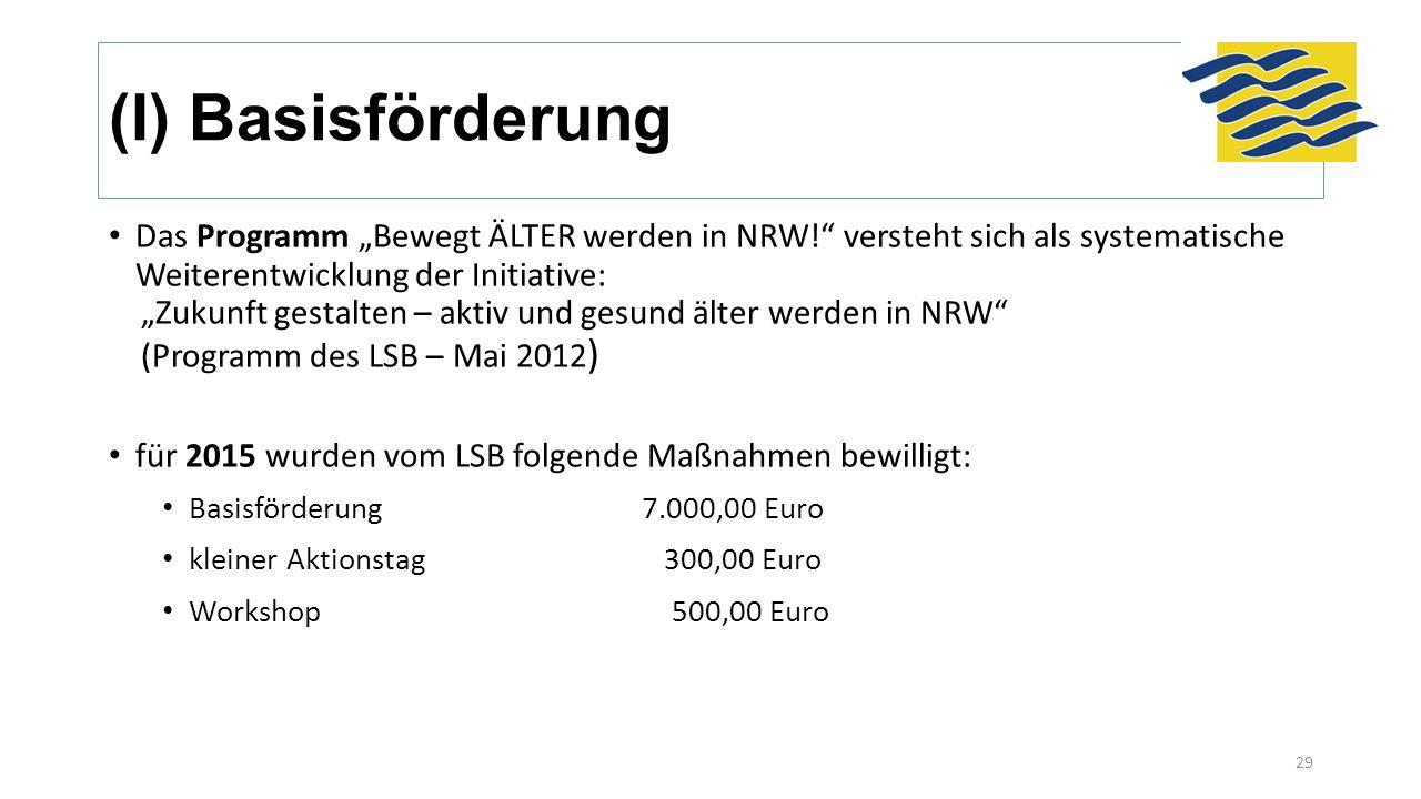 """(I) Basisförderung Das Programm """"Bewegt ÄLTER werden in NRW!"""" versteht sich als systematische Weiterentwicklung der Initiative: """"Zukunft gestalten – a"""