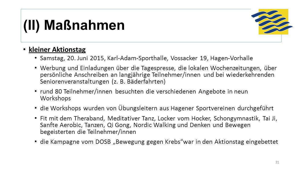 (II) Maßnahmen kleiner Aktionstag Samstag, 20. Juni 2015, Karl-Adam-Sporthalle, Vossacker 19, Hagen-Vorhalle Werbung und Einladungen über die Tagespre