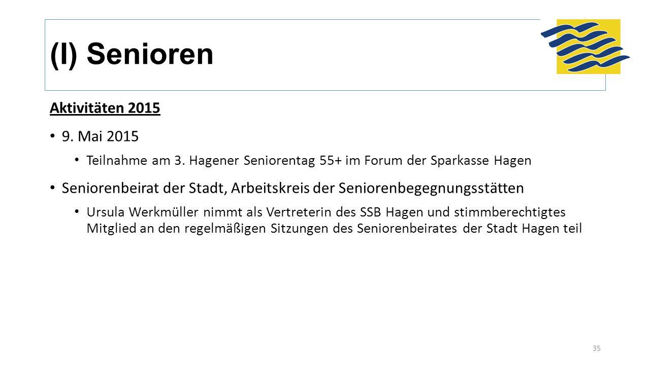 (I) Senioren Aktivitäten 2015 9. Mai 2015 Teilnahme am 3. Hagener Seniorentag 55+ im Forum der Sparkasse Hagen Seniorenbeirat der Stadt, Arbeitskreis