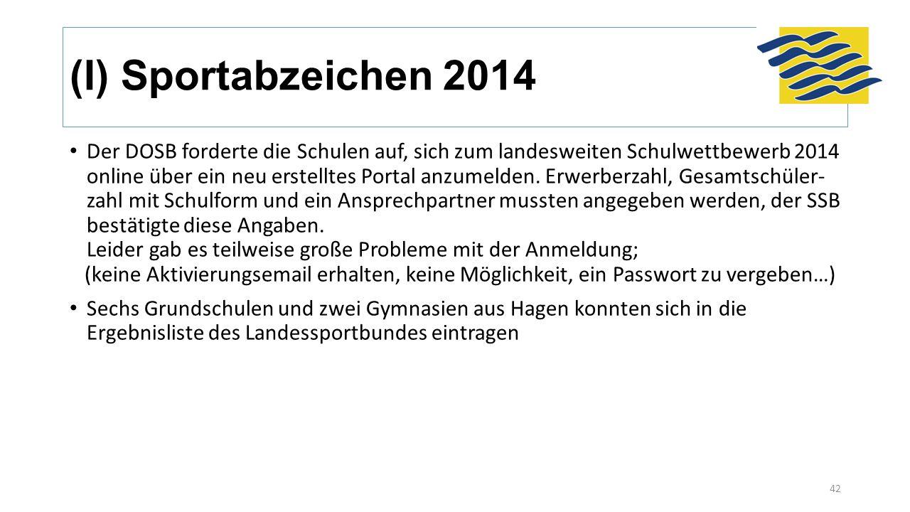 (I) Sportabzeichen 2014 Der DOSB forderte die Schulen auf, sich zum landesweiten Schulwettbewerb 2014 online über ein neu erstelltes Portal anzumelden.