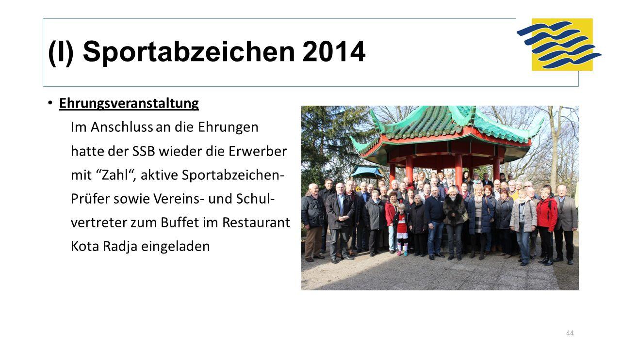 (I) Sportabzeichen 2014 Ehrungsveranstaltung Im Anschluss an die Ehrungen hatte der SSB wieder die Erwerber mit Zahl , aktive Sportabzeichen- Prüfer sowie Vereins- und Schul- vertreter zum Buffet im Restaurant Kota Radja eingeladen 44