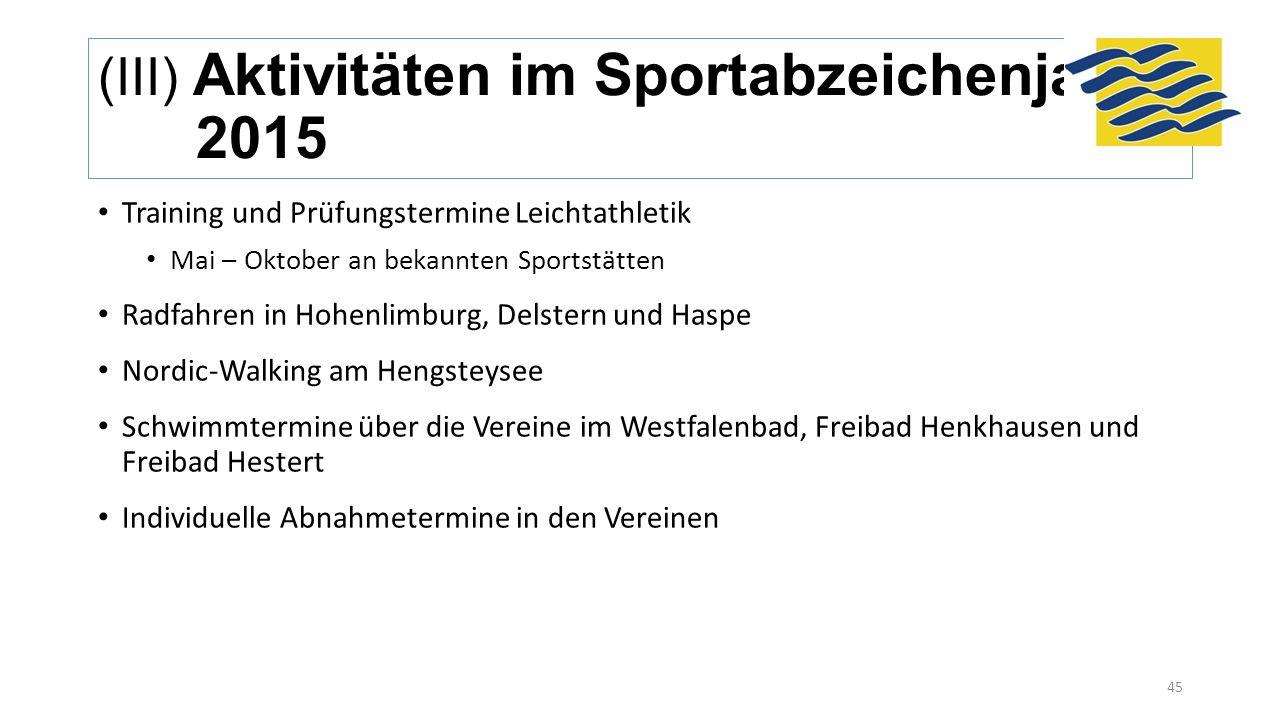 (III) Aktivitäten im Sportabzeichenjahr 2015 Training und Prüfungstermine Leichtathletik Mai – Oktober an bekannten Sportstätten Radfahren in Hohenlim