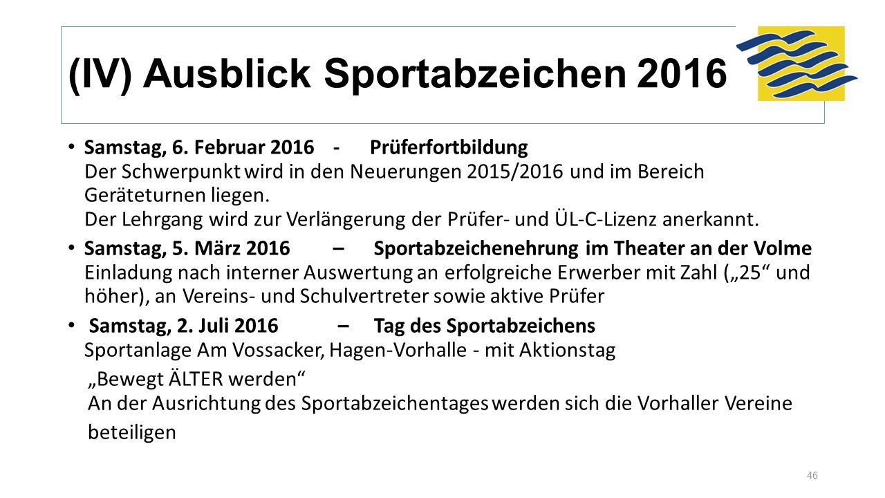 (IV) Ausblick Sportabzeichen 2016 Samstag, 6. Februar 2016- Prüferfortbildung Der Schwerpunkt wird in den Neuerungen 2015/2016 und im Bereich Gerätetu
