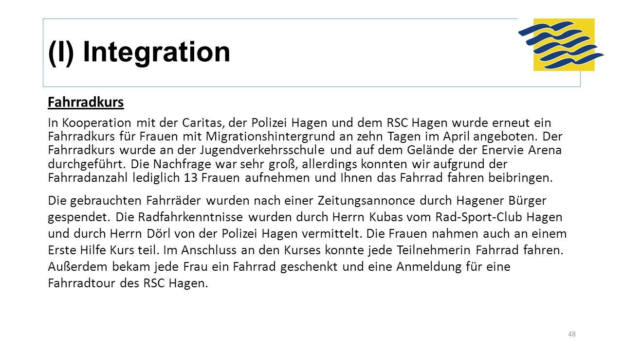 Fahrradkurs In Kooperation mit der Caritas, der Polizei Hagen und dem RSC Hagen wurde erneut ein Fahrradkurs für Frauen mit Migrationshintergrund an zehn Tagen im April angeboten.