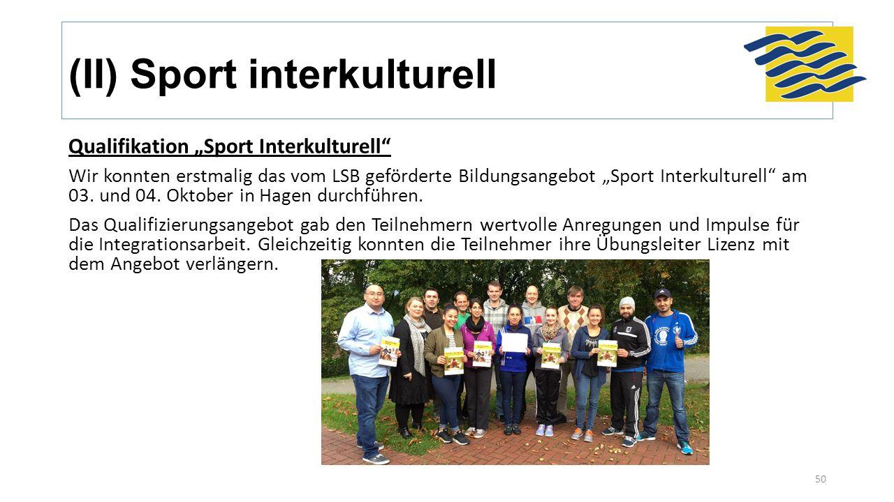 """(II) Sport interkulturell Qualifikation """"Sport Interkulturell"""" Wir konnten erstmalig das vom LSB geförderte Bildungsangebot """"Sport Interkulturell"""" am"""