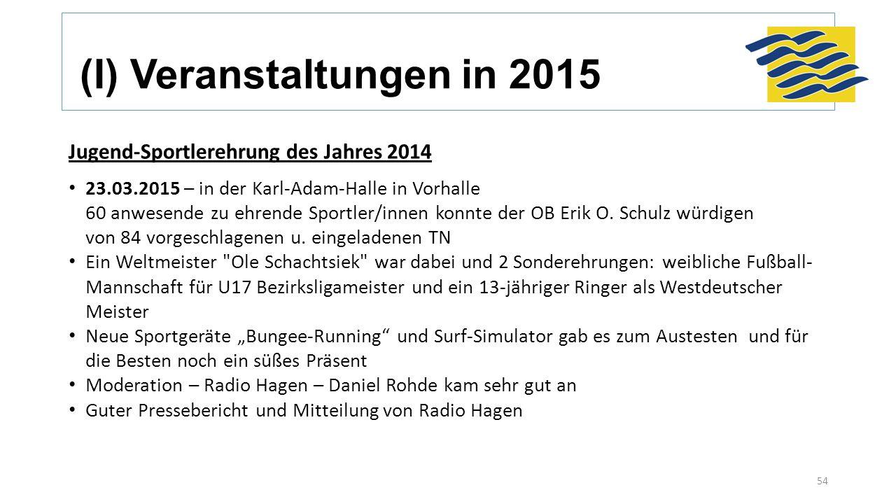 (I) Veranstaltungen in 2015 Jugend-Sportlerehrung des Jahres 2014 23.03.2015 – in der Karl-Adam-Halle in Vorhalle 60 anwesende zu ehrende Sportler/innen konnte der OB Erik O.