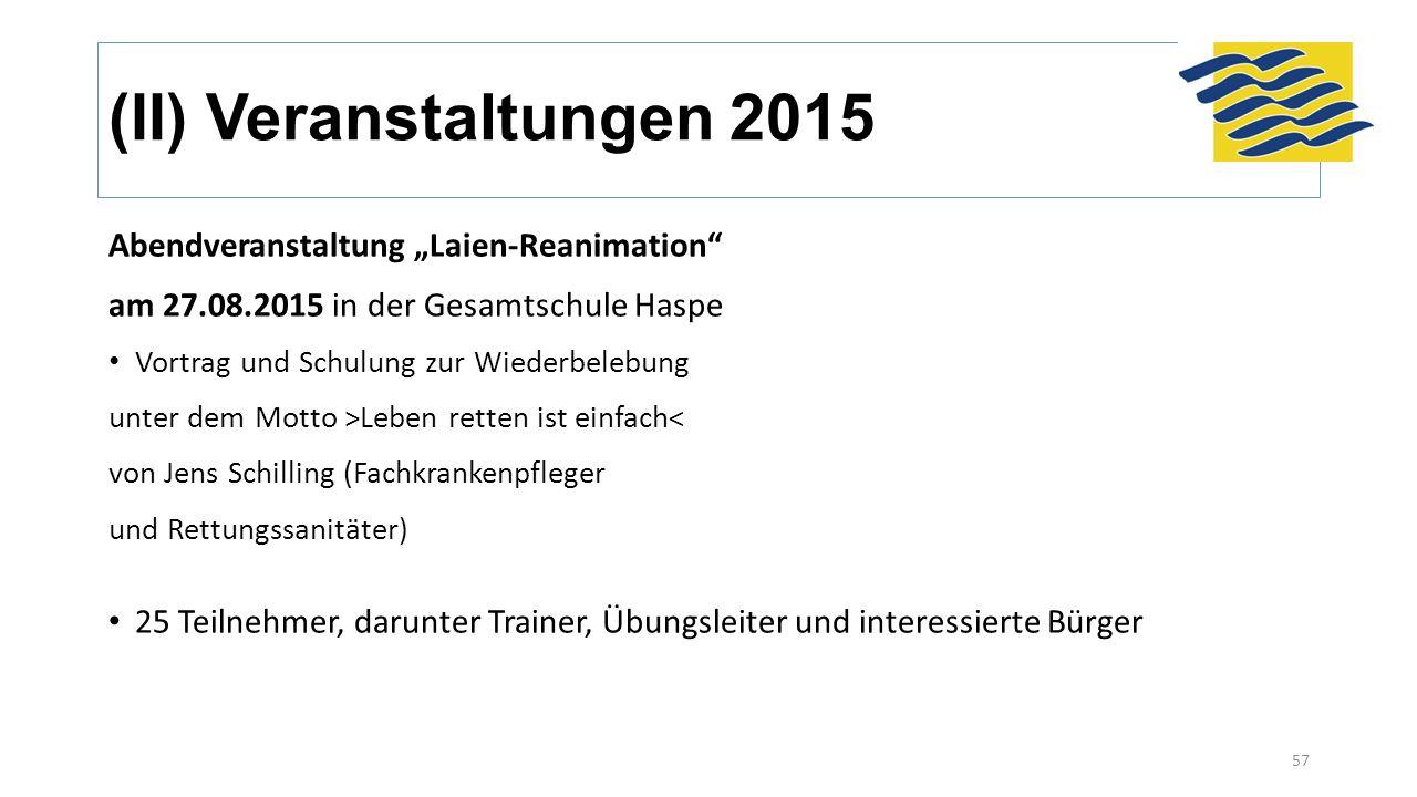 """(II) Veranstaltungen 2015 Abendveranstaltung """"Laien-Reanimation"""" am 27.08.2015 in der Gesamtschule Haspe Vortrag und Schulung zur Wiederbelebung unter"""