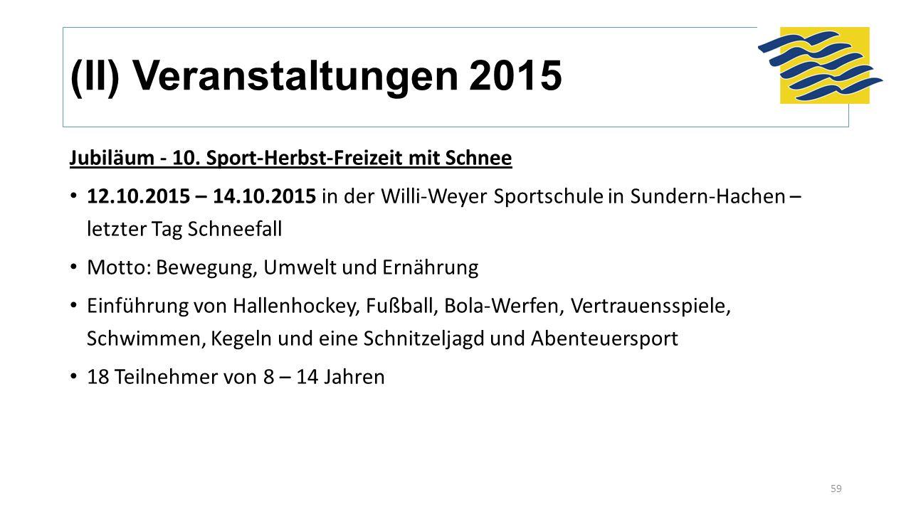(II) Veranstaltungen 2015 Jubiläum - 10. Sport-Herbst-Freizeit mit Schnee 12.10.2015 – 14.10.2015 in der Willi-Weyer Sportschule in Sundern-Hachen – l