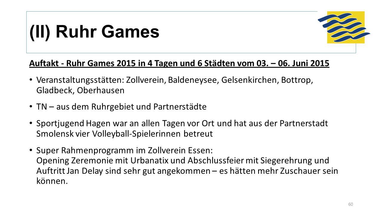 (II) Ruhr Games Auftakt - Ruhr Games 2015 in 4 Tagen und 6 Städten vom 03. – 06. Juni 2015 Veranstaltungsstätten: Zollverein, Baldeneysee, Gelsenkirch