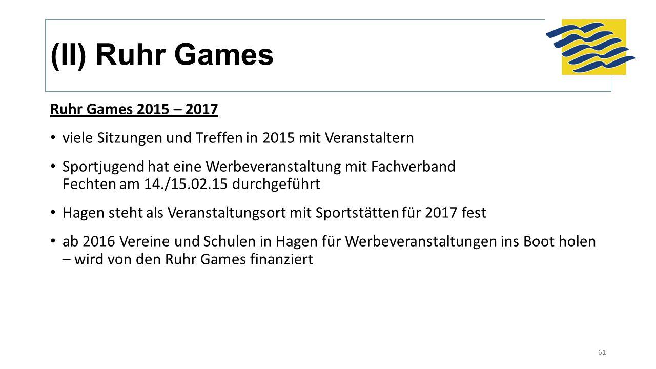 (II) Ruhr Games Ruhr Games 2015 – 2017 viele Sitzungen und Treffen in 2015 mit Veranstaltern Sportjugend hat eine Werbeveranstaltung mit Fachverband Fechten am 14./15.02.15 durchgeführt Hagen steht als Veranstaltungsort mit Sportstätten für 2017 fest ab 2016 Vereine und Schulen in Hagen für Werbeveranstaltungen ins Boot holen – wird von den Ruhr Games finanziert 61