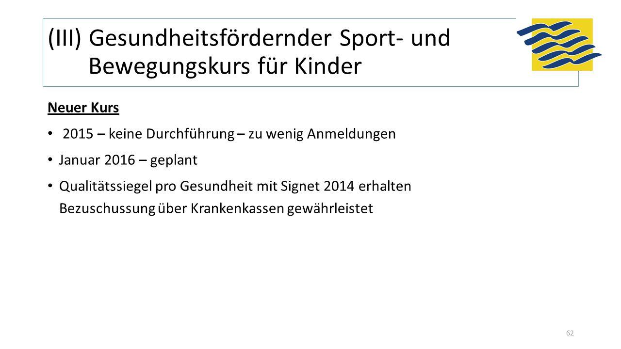 (III) Gesundheitsfördernder Sport- und Bewegungskurs für Kinder Neuer Kurs 2015 – keine Durchführung – zu wenig Anmeldungen Januar 2016 – geplant Qual