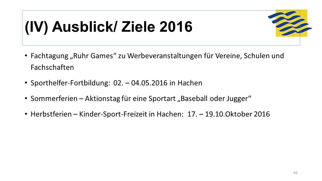 """(IV) Ausblick/ Ziele 2016 Fachtagung """"Ruhr Games"""" zu Werbeveranstaltungen für Vereine, Schulen und Fachschaften Sporthelfer-Fortbildung: 02. – 04.05.2"""