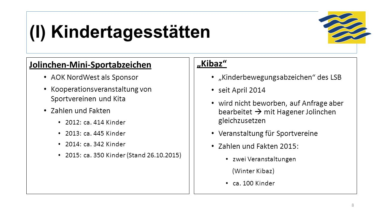 (I) Kindertagesstätten Jolinchen-Mini-Sportabzeichen AOK NordWest als Sponsor Kooperationsveranstaltung von Sportvereinen und Kita Zahlen und Fakten 2012: ca.