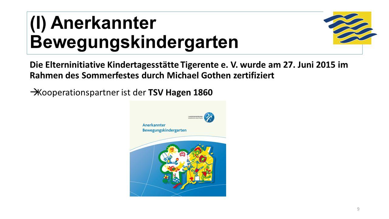 (I) Anerkannter Bewegungskindergarten Die Elterninitiative Kindertagesstätte Tigerente e. V. wurde am 27. Juni 2015 im Rahmen des Sommerfestes durch M