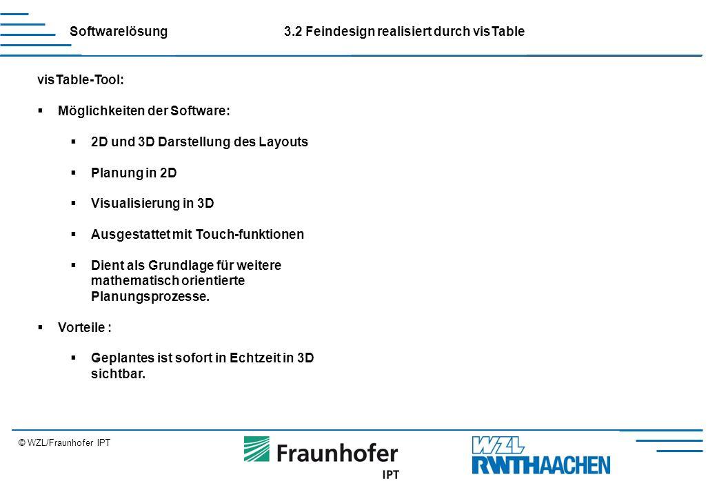 © WZL/Fraunhofer IPT visTable-Tool:  Möglichkeiten der Software:  2D und 3D Darstellung des Layouts  Planung in 2D  Visualisierung in 3D  Ausgestattet mit Touch-funktionen  Dient als Grundlage für weitere mathematisch orientierte Planungsprozesse.