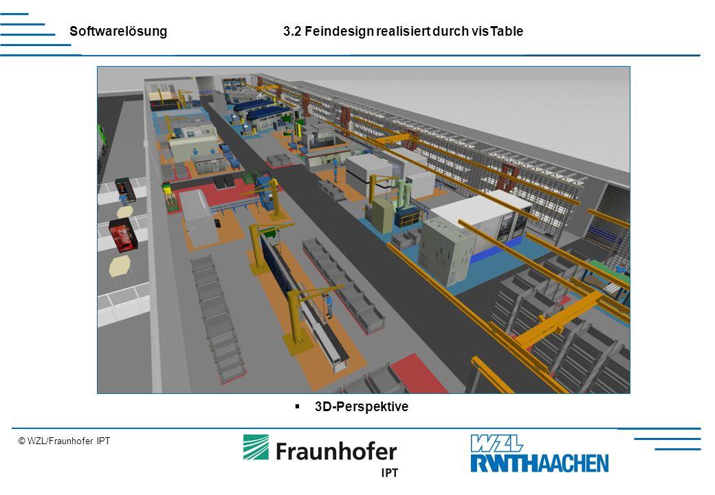 © WZL/Fraunhofer IPT Erweiterung Softwarelösung3.2 Feindesign realisiert durch visTable  3D-Perspektive