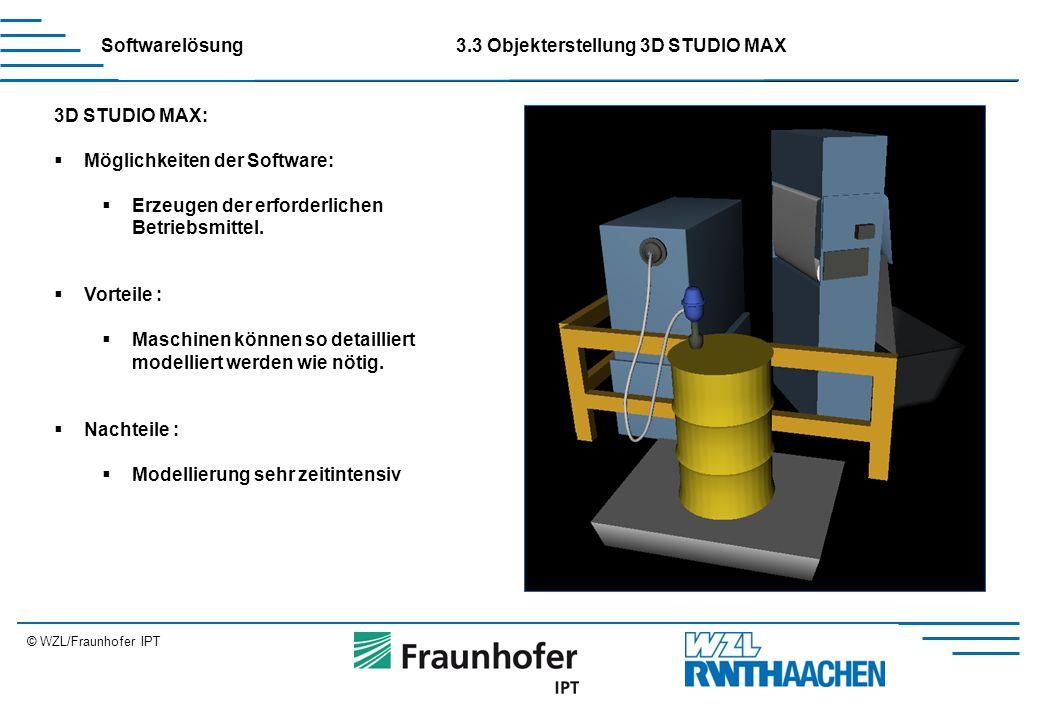 © WZL/Fraunhofer IPT 3D STUDIO MAX:  Möglichkeiten der Software:  Erzeugen der erforderlichen Betriebsmittel.