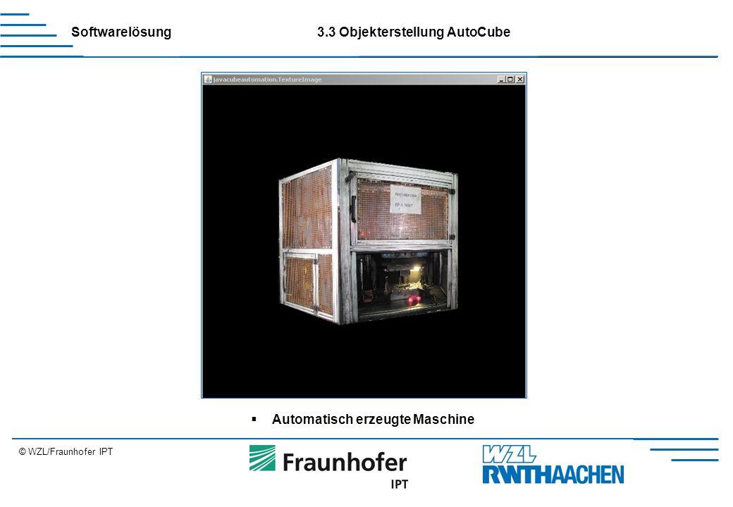 © WZL/Fraunhofer IPT Erweiterung Softwarelösung3.3 Objekterstellung AutoCube  Automatisch erzeugte Maschine