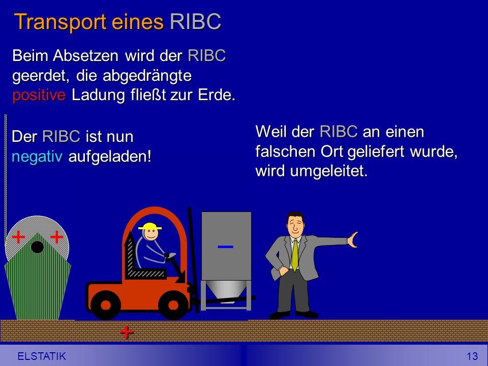12 ELSTATIK Transport eines RIBC Ein Gabelstapler mit isolierender Bereifung transportiert einen leitfähigen RIBC in die Nähe einer Wickelvorrichtung, deren Folie positiv aufgeladen ist.