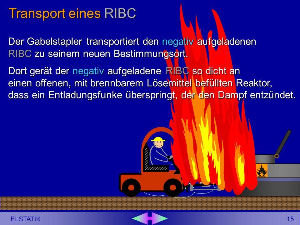14 ELSTATIK ++ _ Der Gabelstapler transportiert den negativ aufgeladenen RIBC zu seinem neuen Bestimmungsort. Transport eines RIBC