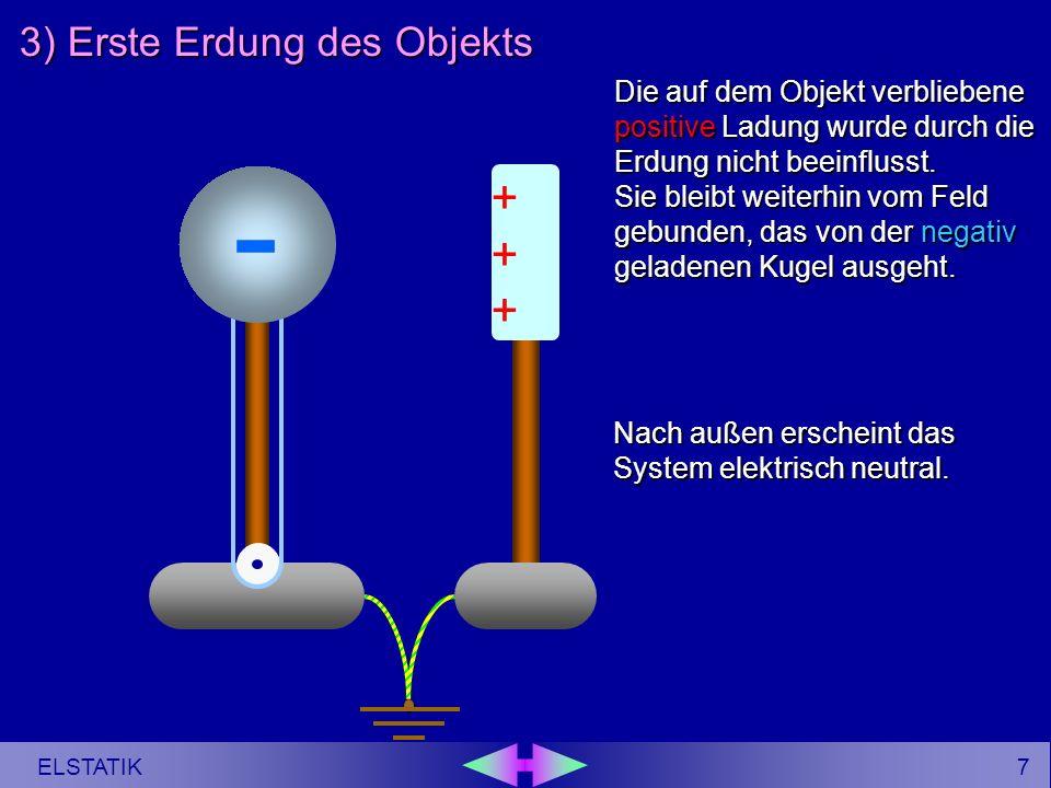 6 ELSTATIK - 3) Erste Erdung des Objekts ------ ++++++ - Zur Feststellung der Ladungsverschiebung wird an der kugelabgewandten Seite des Objekts kurzzeitig ein Kontakt zur Erde herbeigeführt.