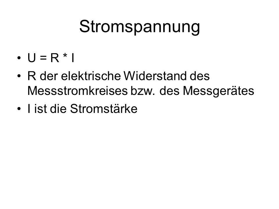 Stromspannung U = R * I R der elektrische Widerstand des Messstromkreises bzw. des Messgerätes I ist die Stromstärke