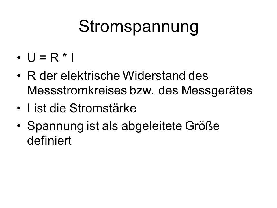 Stromspannung U = R * I R der elektrische Widerstand des Messstromkreises bzw.