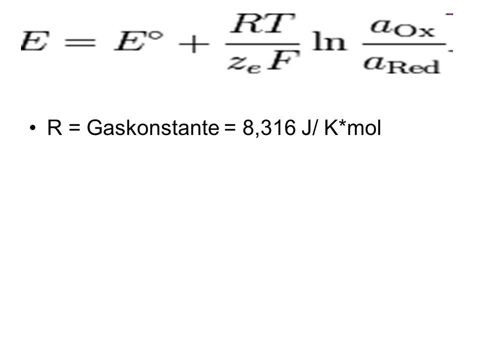 R = Gaskonstante = 8,316 J/ K*mol