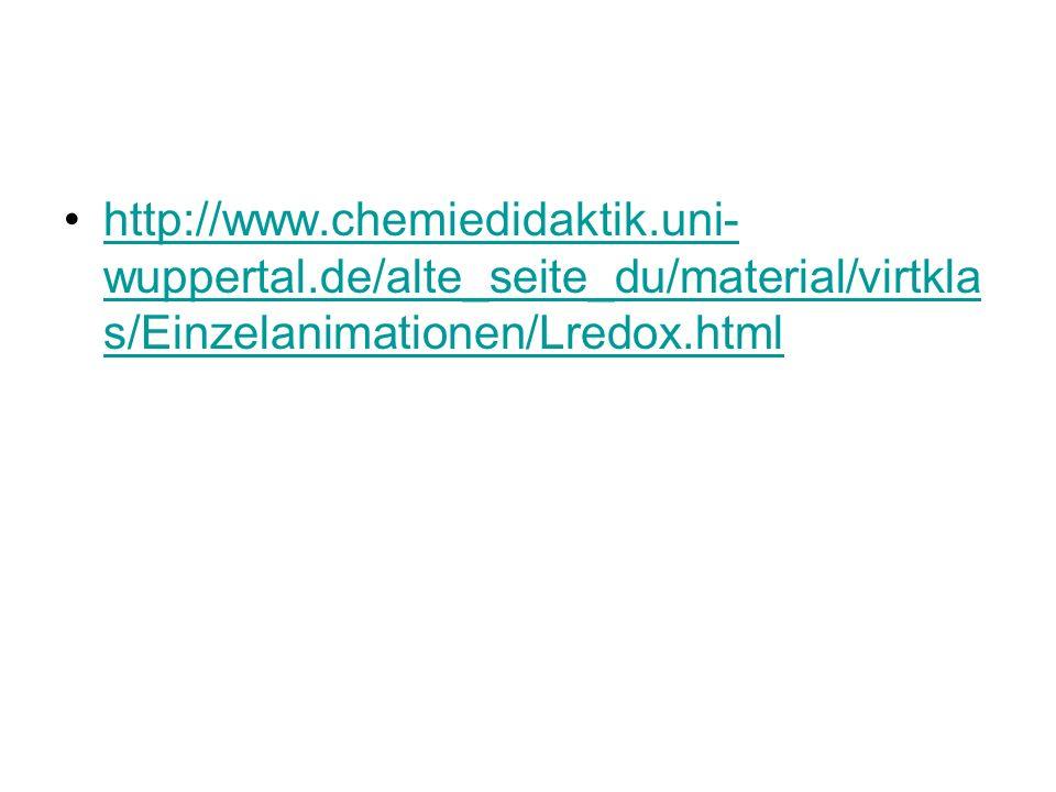 http://www.chemiedidaktik.uni- wuppertal.de/alte_seite_du/material/virtkla s/Einzelanimationen/Lredox.htmlhttp://www.chemiedidaktik.uni- wuppertal.de/alte_seite_du/material/virtkla s/Einzelanimationen/Lredox.html