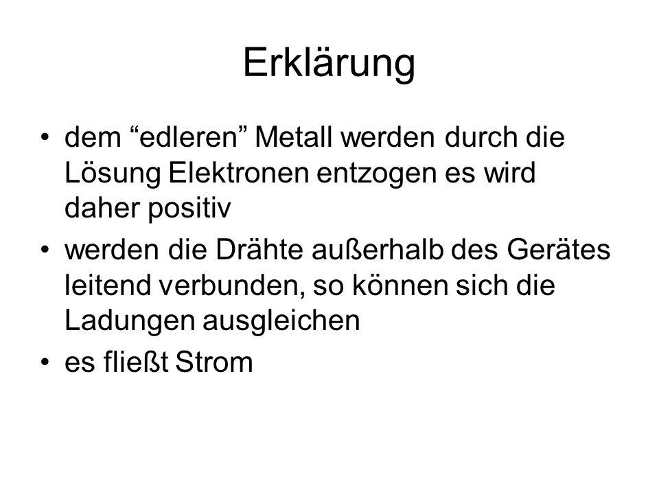 """Erklärung dem """"edleren"""" Metall werden durch die Lösung Elektronen entzogen es wird daher positiv werden die Drähte außerhalb des Gerätes leitend verbu"""