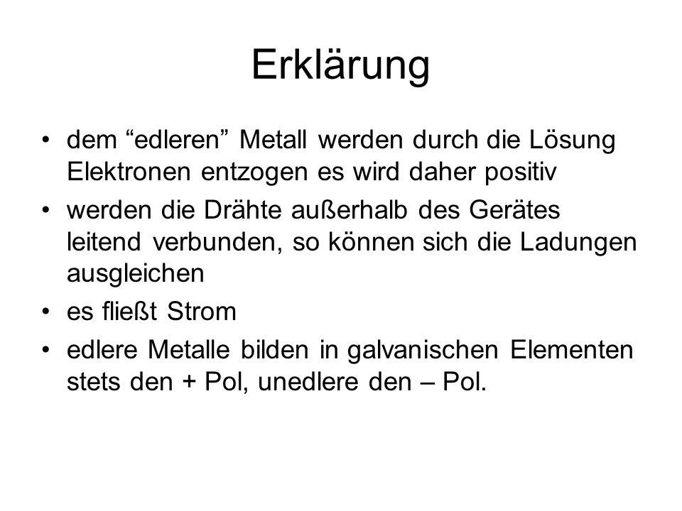 Erklärung dem edleren Metall werden durch die Lösung Elektronen entzogen es wird daher positiv werden die Drähte außerhalb des Gerätes leitend verbunden, so können sich die Ladungen ausgleichen es fließt Strom edlere Metalle bilden in galvanischen Elementen stets den + Pol, unedlere den – Pol.