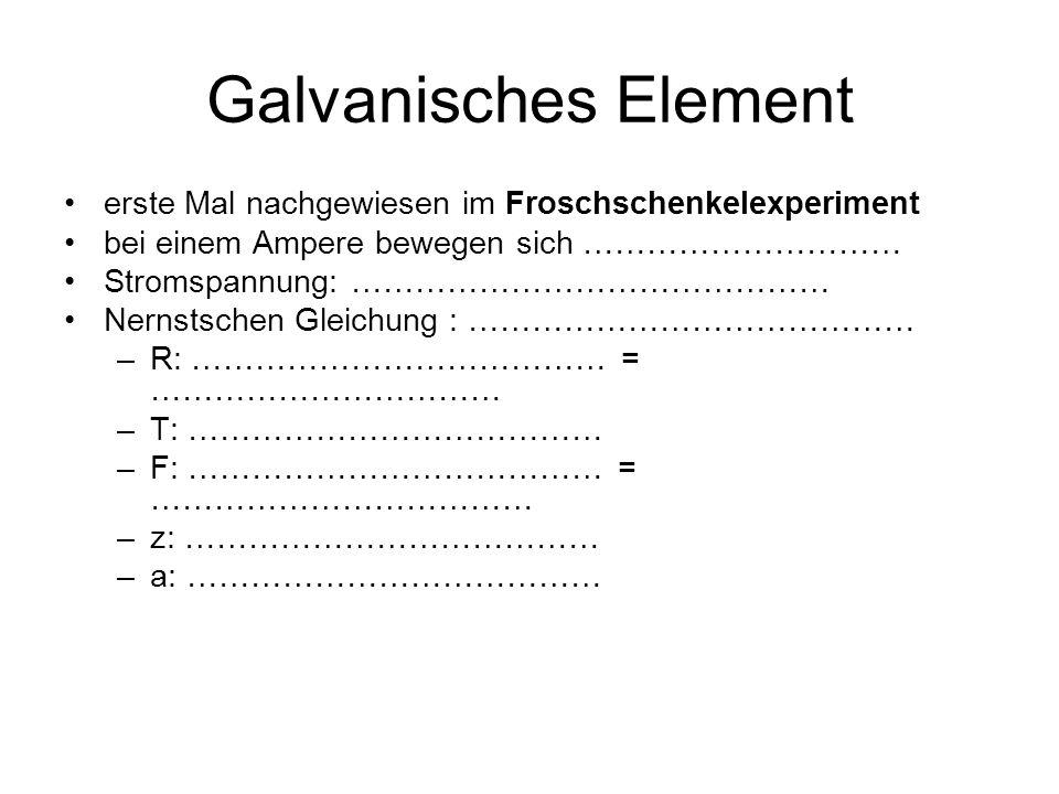 Galvanisches Element erste Mal nachgewiesen im Froschschenkelexperiment bei einem Ampere bewegen sich ………………………… Stromspannung: ……………………………………… Nernstschen Gleichung : …………………………………… –R: ………………………………… = …………………………… –T: ………………………………… –F: ………………………………… = ……………………………… –z: ………………………………… –a: …………………………………
