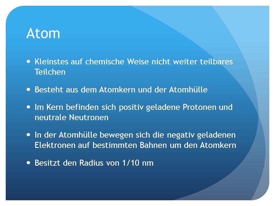 Atom Kleinstes auf chemische Weise nicht weiter teilbares Teilchen Besteht aus dem Atomkern und der Atomhülle Im Kern befinden sich positiv geladene Protonen und neutrale Neutronen In der Atomhülle bewegen sich die negativ geladenen Elektronen auf bestimmten Bahnen um den Atomkern Besitzt den Radius von 1/10 nm