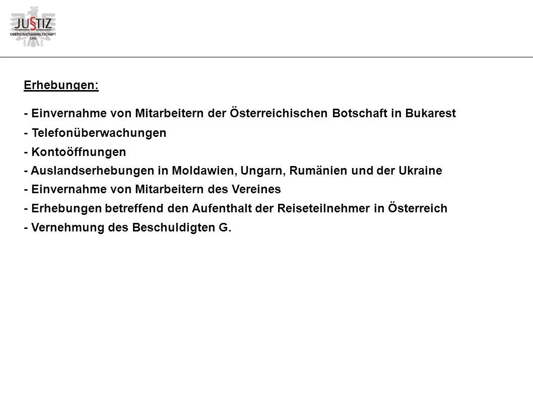 Erhebungen: - Einvernahme von Mitarbeitern der Österreichischen Botschaft in Bukarest - Telefonüberwachungen - Kontoöffnungen - Auslandserhebungen in Moldawien, Ungarn, Rumänien und der Ukraine - Einvernahme von Mitarbeitern des Vereines - Erhebungen betreffend den Aufenthalt der Reiseteilnehmer in Österreich - Vernehmung des Beschuldigten G.