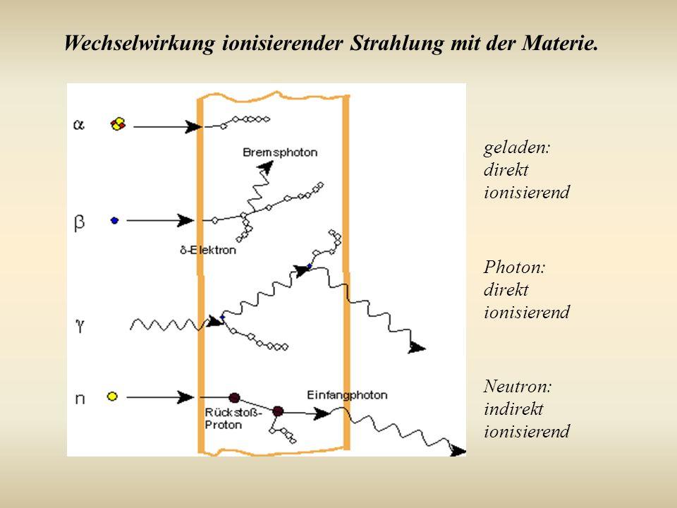 Wechselwirkung ionisierender Strahlung mit der Materie.