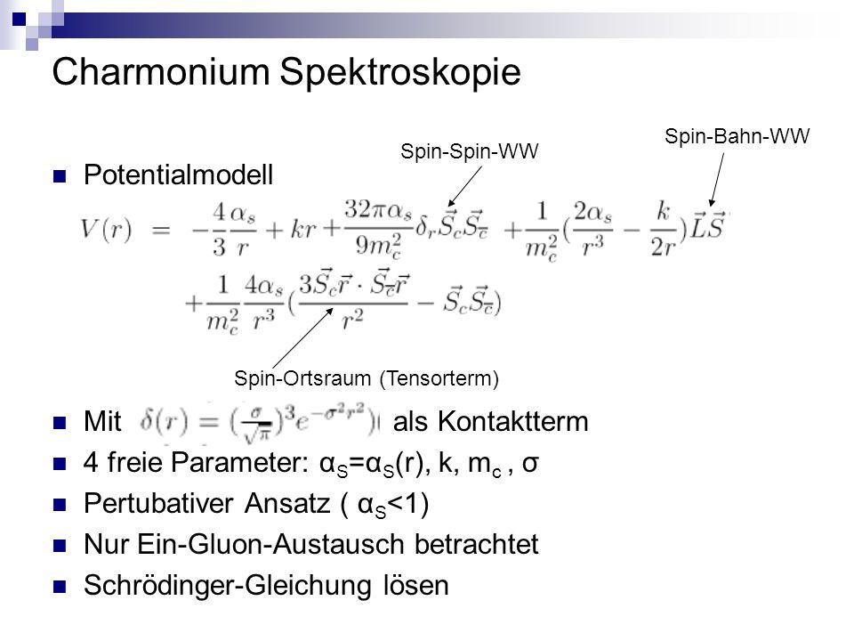 Charmonium Spektroskopie Potentialmodell Mitals Kontaktterm 4 freie Parameter: α S =α S (r), k, m c, σ Pertubativer Ansatz ( α S <1) Nur Ein-Gluon-Austausch betrachtet Schrödinger-Gleichung lösen Spin-Spin-WW Spin-Bahn-WW Spin-Ortsraum (Tensorterm)
