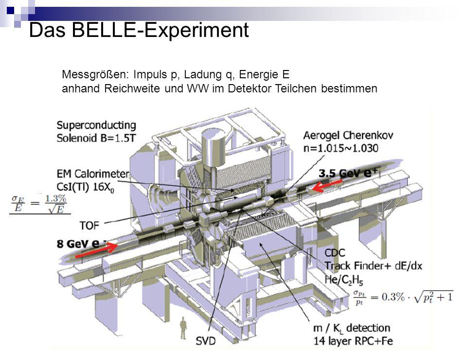 Das BELLE-Experiment Messgrößen: Impuls p, Ladung q, Energie E anhand Reichweite und WW im Detektor Teilchen bestimmen