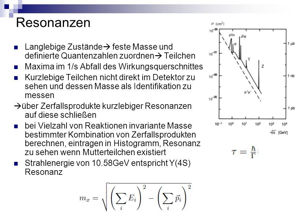 Resonanzen Langlebige Zustände  feste Masse und definierte Quantenzahlen zuordnen  Teilchen Maxima im 1/s Abfall des Wirkungsquerschnittes Kurzlebige Teilchen nicht direkt im Detektor zu sehen und dessen Masse als Identifikation zu messen  über Zerfallsprodukte kurzlebiger Resonanzen auf diese schließen bei Vielzahl von Reaktionen invariante Masse bestimmter Kombination von Zerfallsprodukten berechnen, eintragen in Histogramm, Resonanz zu sehen wenn Mutterteilchen existiert Strahlenergie von 10.58GeV entspricht Y(4S) Resonanz