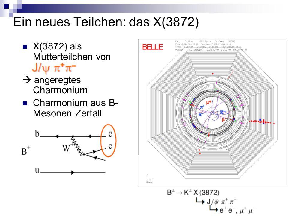 Ein neues Teilchen: das X(3872) X(3872) als Mutterteilchen von  angeregtes Charmonium Charmonium aus B- Mesonen Zerfall