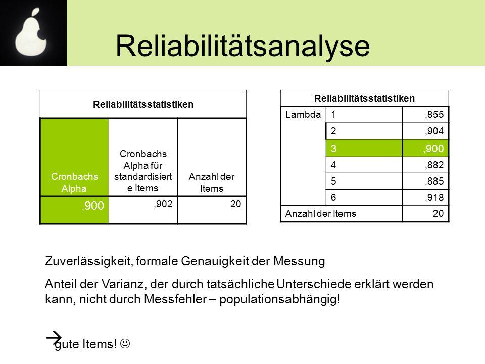 Reliabilitätsanalyse Reliabilitätsstatistiken Cronbachs Alpha Cronbachs Alpha für standardisiert e Items Anzahl der Items, 900,90220 Reliabilitätsstat