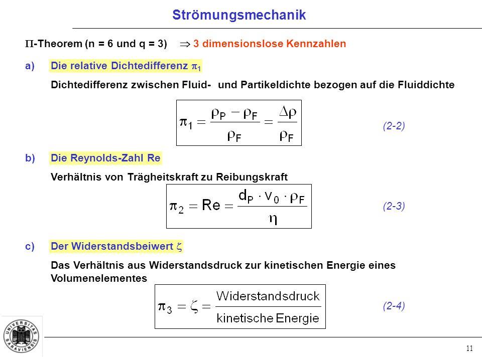 11  -Theorem (n = 6 und q = 3)  3 dimensionslose Kennzahlen a)Die relative Dichtedifferenz  1 Dichtedifferenz zwischen Fluid- und Partikeldichte bezogen auf die Fluiddichte b)Die Reynolds-Zahl Re Verhältnis von Trägheitskraft zu Reibungskraft c)Der Widerstandsbeiwert  Das Verhältnis aus Widerstandsdruck zur kinetischen Energie eines Volumenelementes (2-2) (2-3) (2-4) Strömungsmechanik