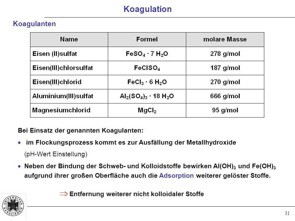 31 Bei Einsatz der genannten Koagulanten:  im Flockungsprozess kommt es zur Ausfällung der Metallhydroxide (pH-Wert Einstellung)  Neben der Bindung der Schweb- und Kolloidstoffe bewirken Al(OH) 3 und Fe(OH) 3 aufgrund ihrer großen Oberfläche auch die Adsorption weiterer gelöster Stoffe.