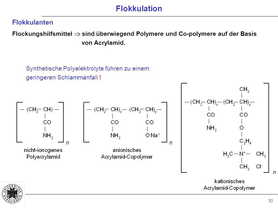 35 Flokkulanten Flockungshilfsmittel  sind überwiegend Polymere und Co-polymere auf der Basis von Acrylamid.