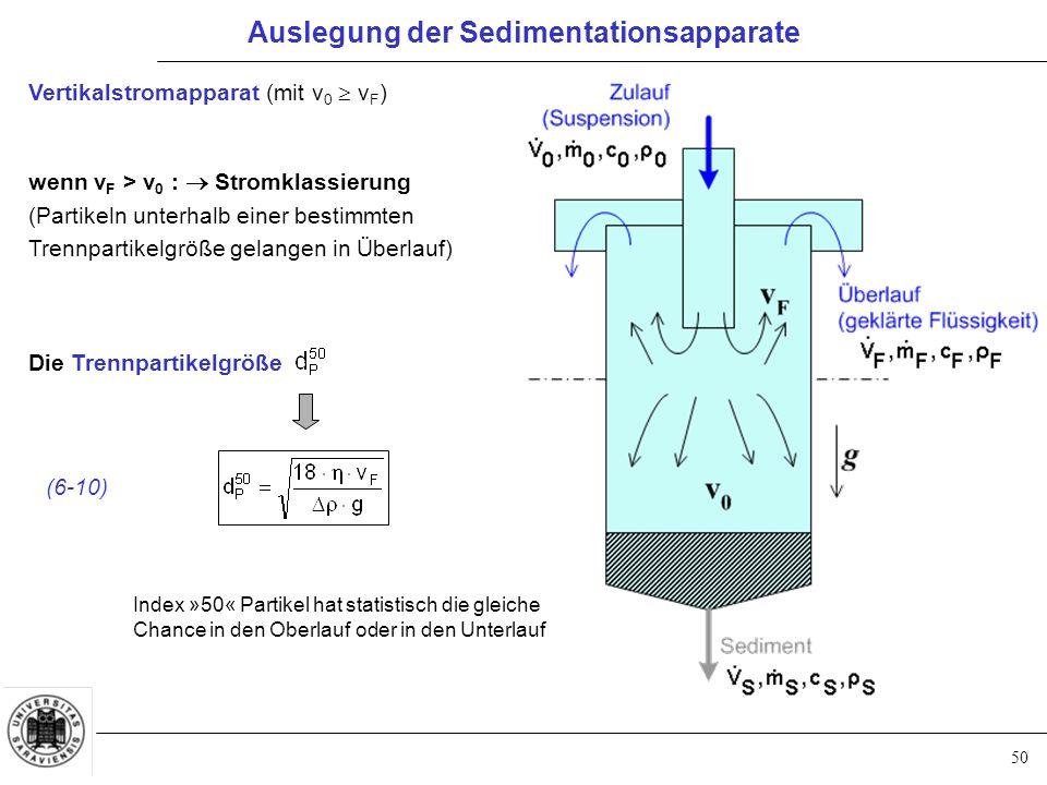 50 Vertikalstromapparat (mit v 0  v F ) wenn v F > v 0 :  Stromklassierung (Partikeln unterhalb einer bestimmten Trennpartikelgröße gelangen in Überlauf) Die Trennpartikelgröße (6-10) Index »50« Partikel hat statistisch die gleiche Chance in den Oberlauf oder in den Unterlauf Auslegung der Sedimentationsapparate