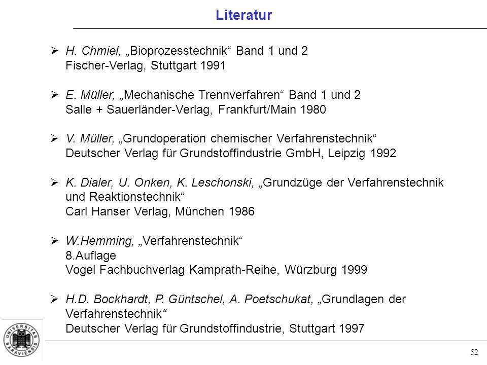 """52 Literatur  H. Chmiel, """"Bioprozesstechnik Band 1 und 2 Fischer-Verlag, Stuttgart 1991  E."""