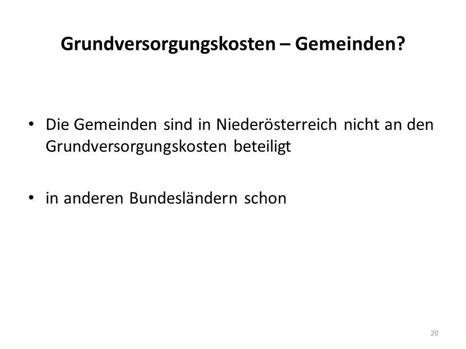Grundversorgungskosten – Gemeinden? Die Gemeinden sind in Niederösterreich nicht an den Grundversorgungskosten beteiligt in anderen Bundesländern scho