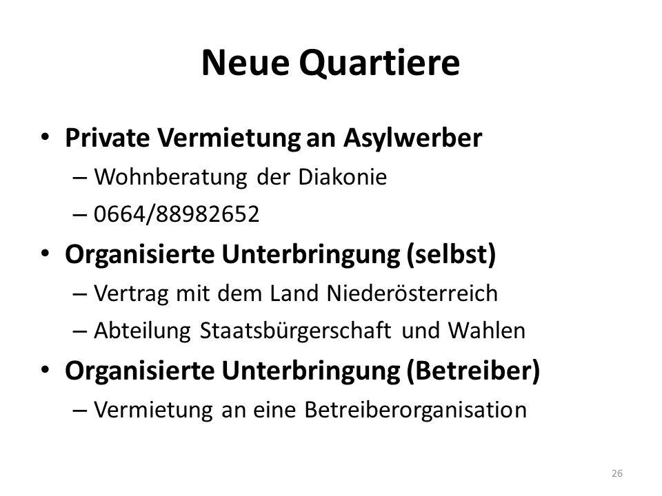 Neue Quartiere Private Vermietung an Asylwerber – Wohnberatung der Diakonie – 0664/88982652 Organisierte Unterbringung (selbst) – Vertrag mit dem Land