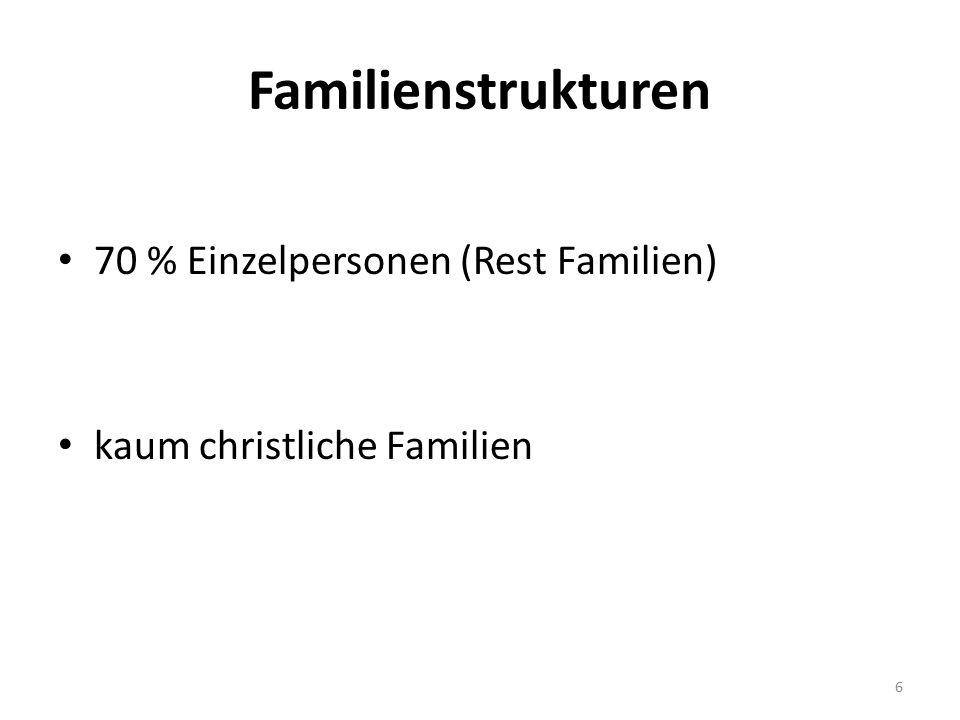 Familienstrukturen 70 % Einzelpersonen (Rest Familien) kaum christliche Familien 6