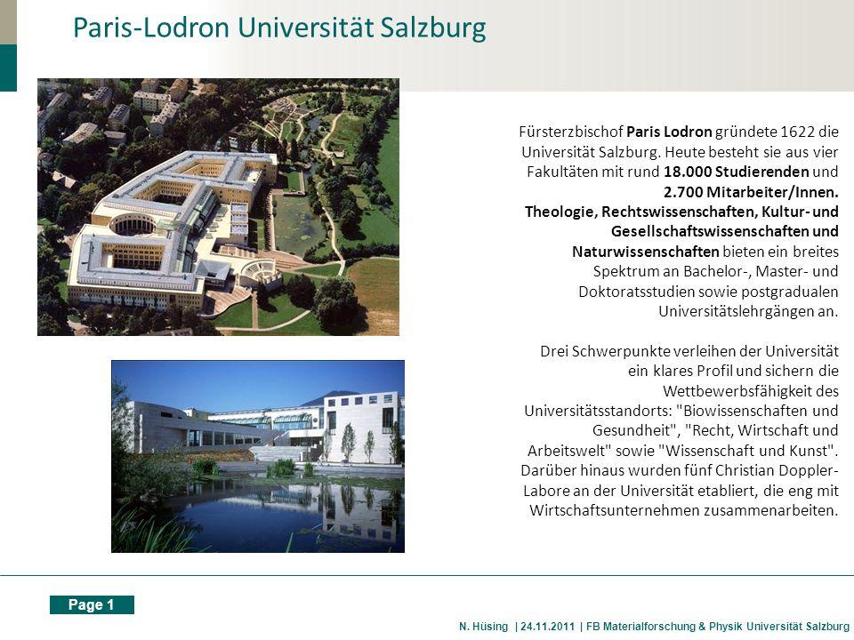 Page 1 N. Hüsing | 24.11.2011 | FB Materialforschung & Physik Universität Salzburg Paris-Lodron Universität Salzburg Fürsterzbischof Paris Lodron grün